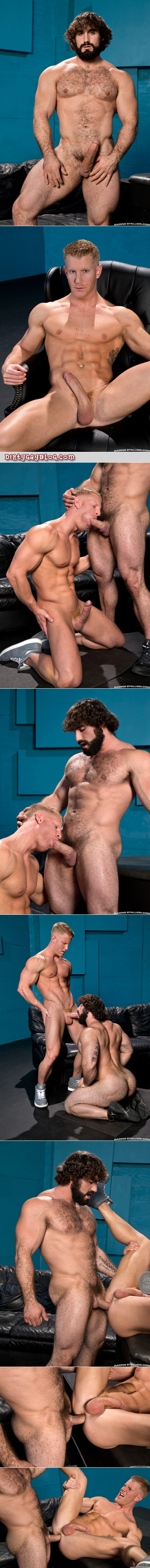 Hairy Greek muscle god fucking a smooth blonde muscular pig.