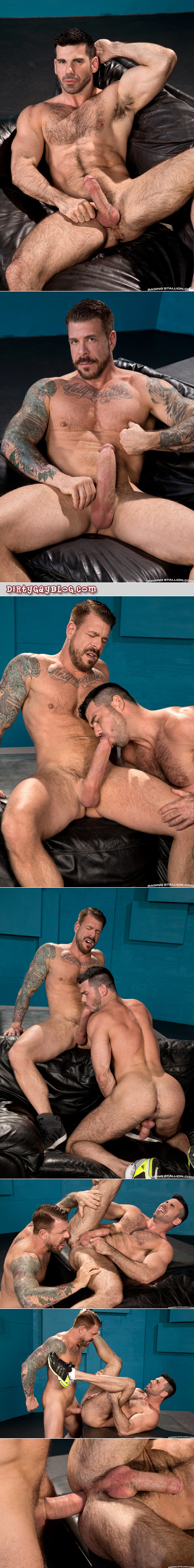 Well-hung muscle Daddy fucking a hairy muscle bear with his enormous cock.