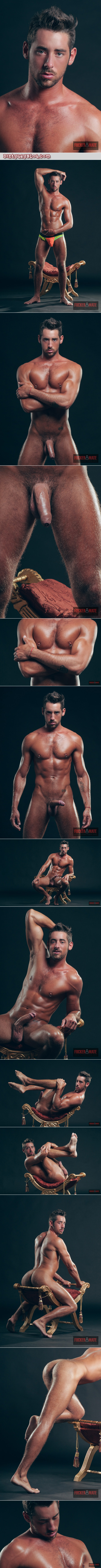 Uncut Spanish stud with a dark tan in the nude.