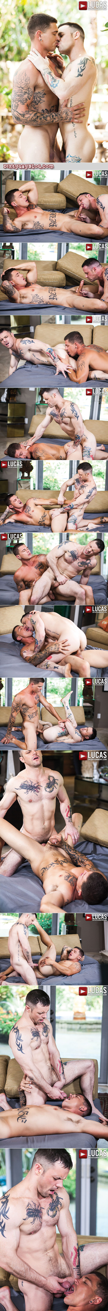 Muscular gay-for-pay porn stars flip-fuck bareback.