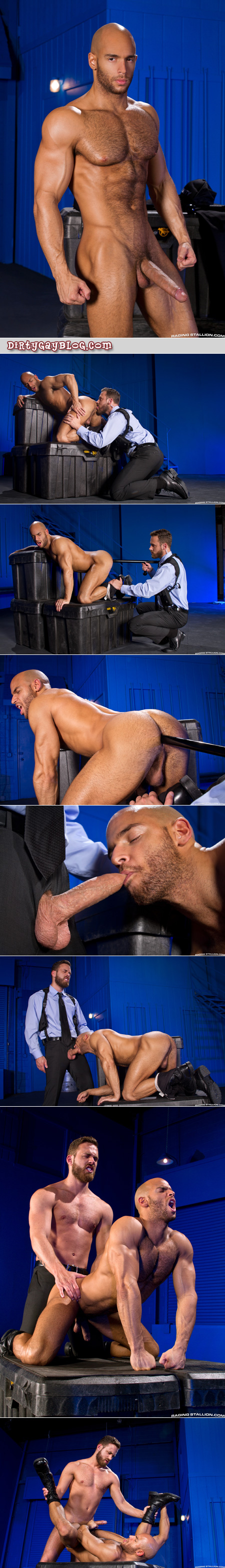 Muscular security guard uses his nightstick to penetrate a hung bottom before fucking him with his uncut cock.