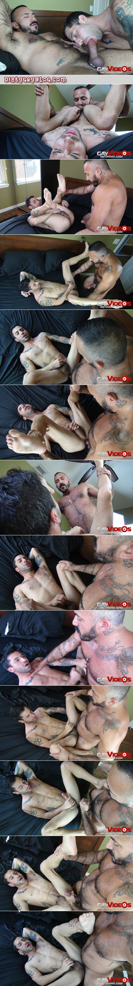 Hairy Daddy fucking a younger tattooed guy bareback and breeding his ass.