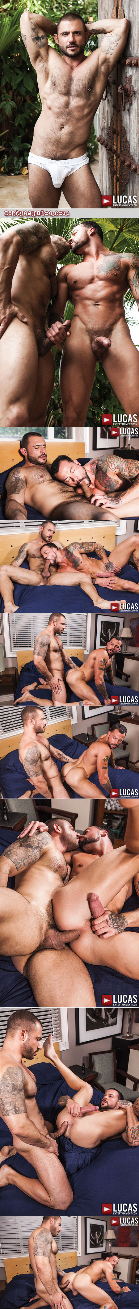 Muscular hunk is fucked bareback for the first time by a Latino muscle stud.