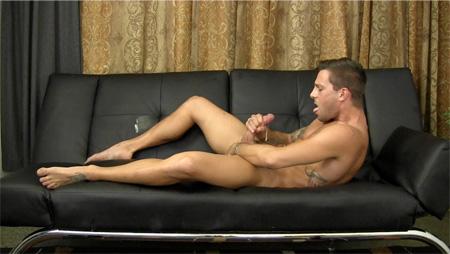 Nude gymnast masturbating with cumshot.