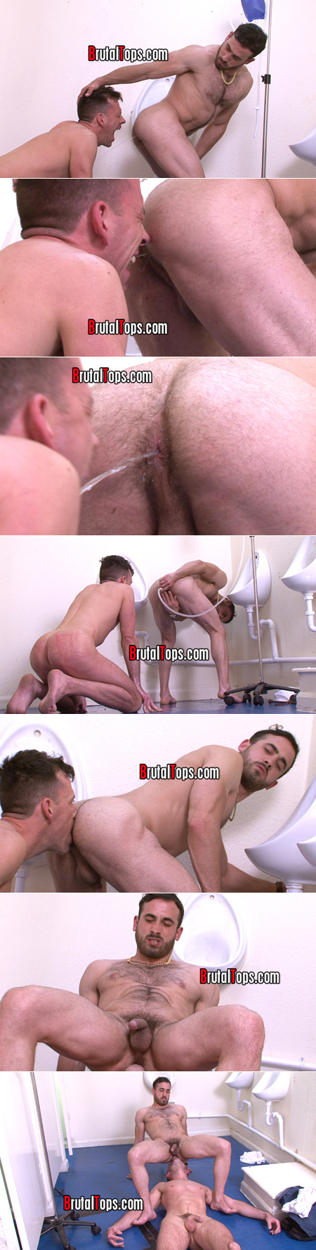 Submissive man taking an enema to the face then eating a straight man hairy muscle ass.