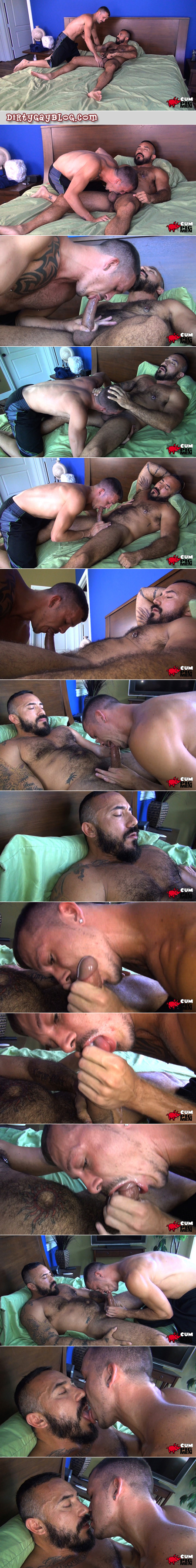 Hairy Daddy muscle bear sucked to completion then snowballed by a fit younger man.
