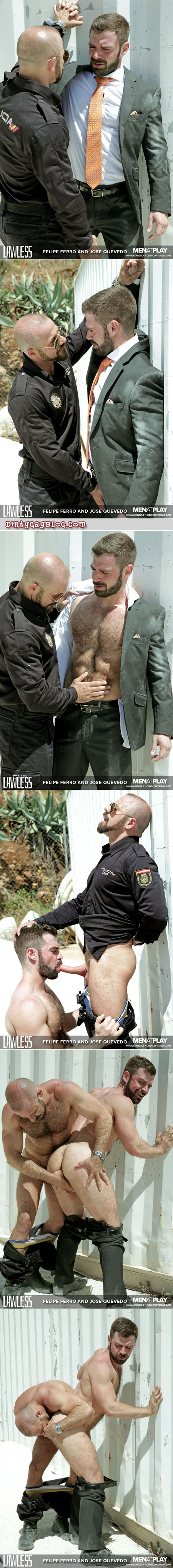 Muscle bear in a suit being sexually abused by a uniformed Latino muscle Daddy.