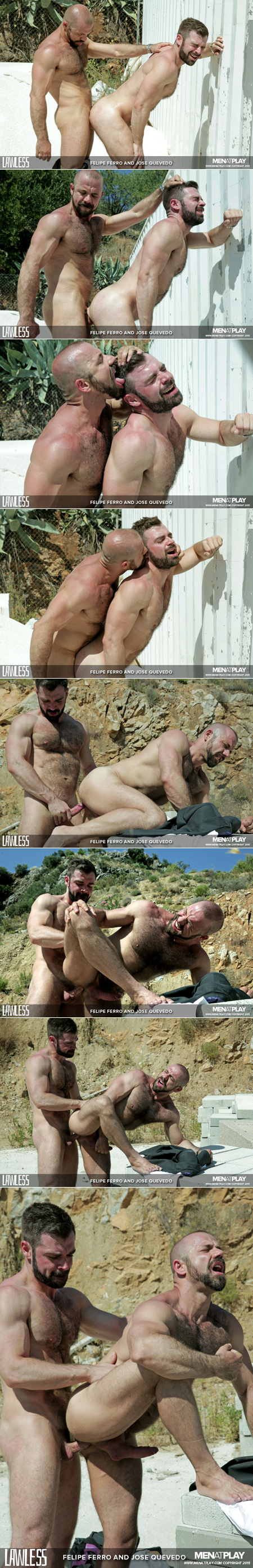 Hairy Latino muscle bears flip fucking outside in the desert sun.