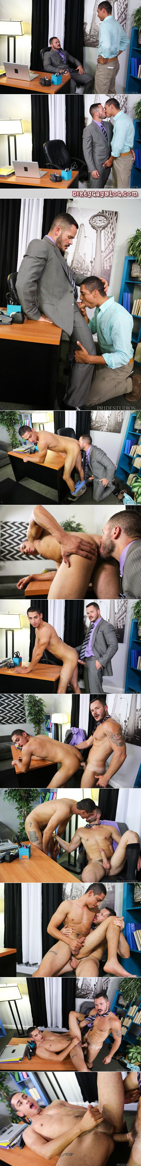 Hung businessman fucking a young office worker with his enormous cock after closing a big deal.