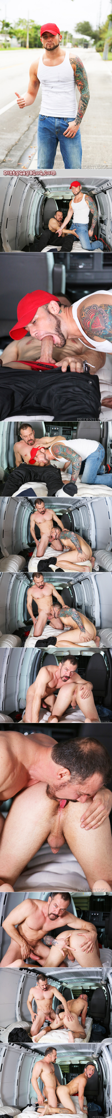 Muscle Daddy picks up a male hitchhiker and fucks him in the back of his windowless van.