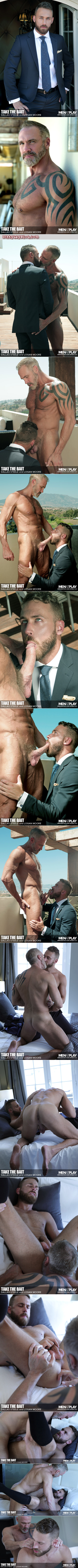 Suited businessman getting fucked by a hairy, tattooed muscular Daddy neighbor.