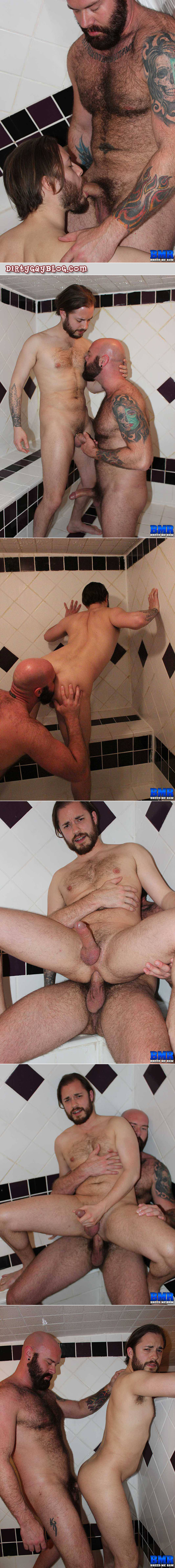 Hairy bear and cub fucking bareback in the steam room at the gym.