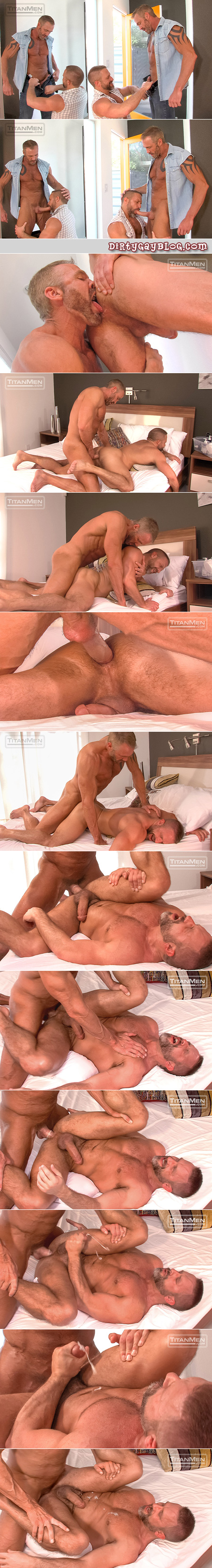 Hung muscle Daddies flip-fucking with their big dicks.