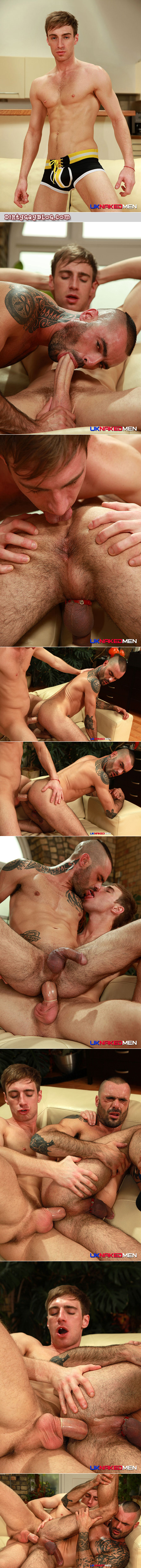 Scruffy, tattooed muscle jock sucking a huge cock and taking the enormous dick in his ass.