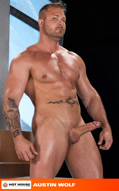 Scruffy pumped up muscle stud with an erection.