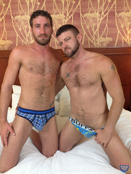 Hairy bearded hunks in colorful underwear briefs.