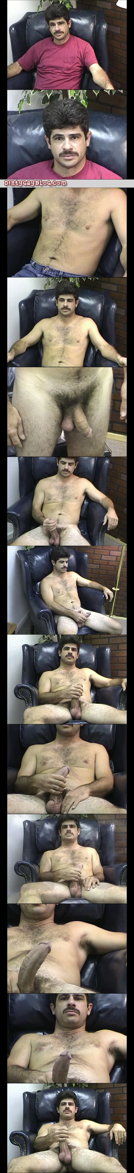 Mustachioed straight man in the nude jacking off.