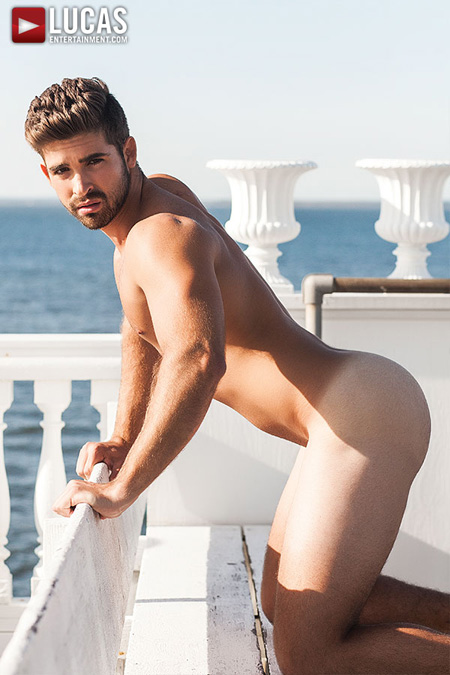 Young bearded Latino sticking his naked white ass out.