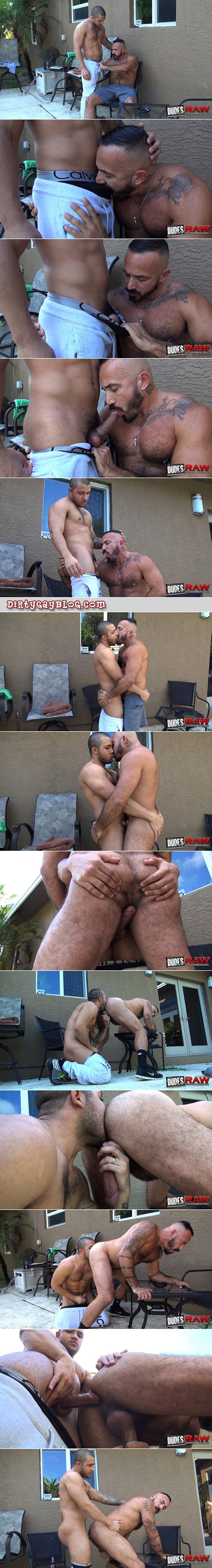 Hairy Latino Daddy being fucked bareback by a Latin muscle stud outside on the patio.