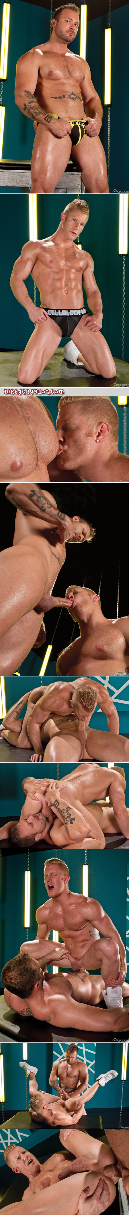 Ginger blonde getting fucked by a beefy muscle bear.