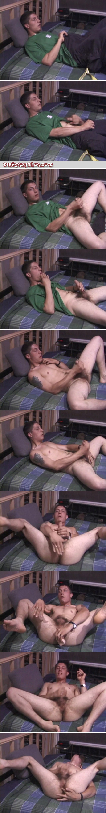Hairy blonde straight guy jacking off with his spit while he plays with his ass.