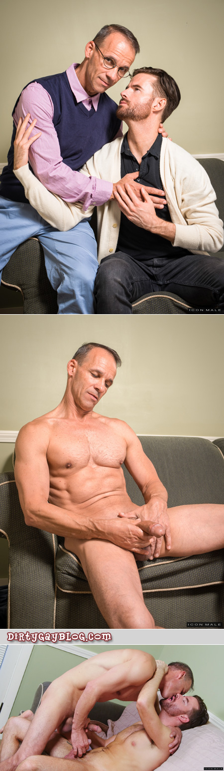 Older male therapist seducing his male patient.