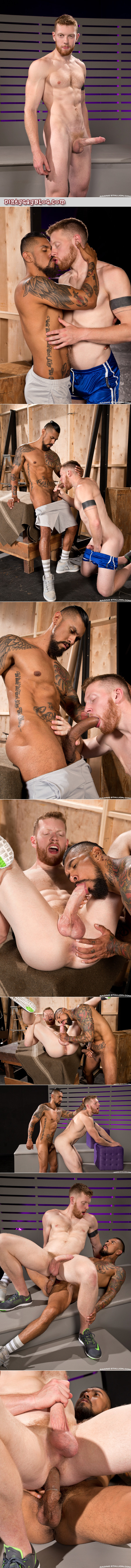 Fuzzy, pale redheaded bottom with a big dick getting fucked by a Latino muscleman with an enormous uncut dick.