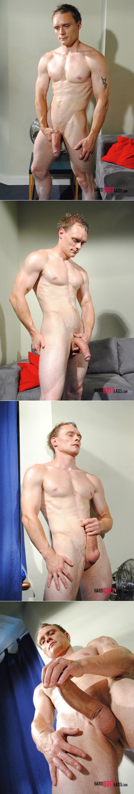 Ripped, muscular stud stroking his enormous white monster cock.