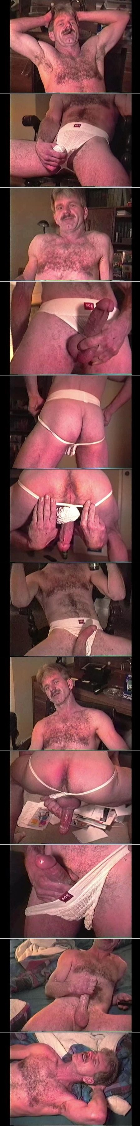 Hairy Daddy jacking off in his worn out jockstrap.