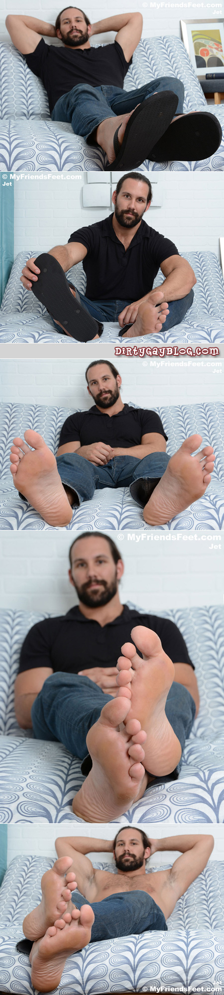 Hairy muscle hunk showing off his big bare feet.