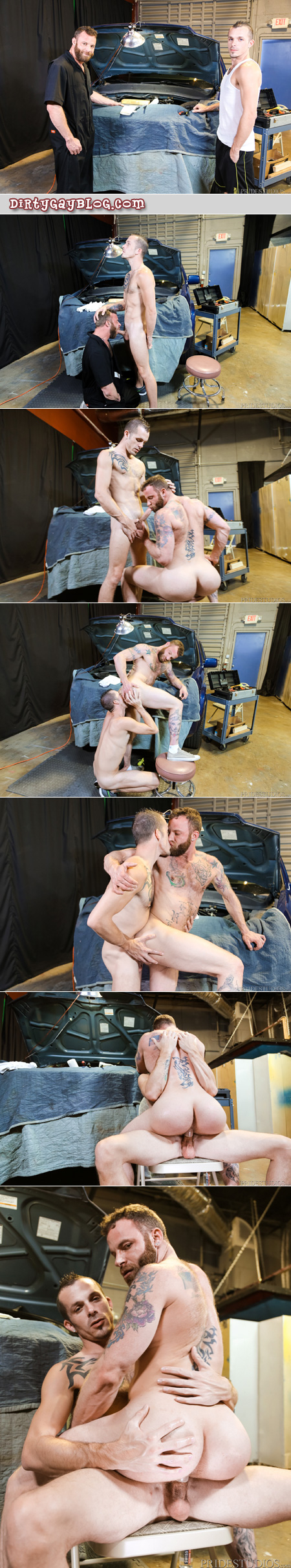 Muscle cub mechanic being fucked by a slim tattooed guy with a big white dick.