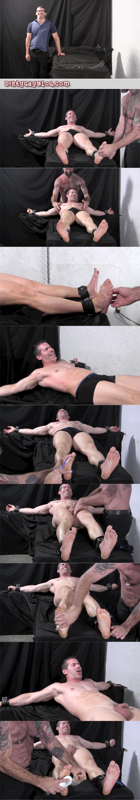 Beefy straight guy bound and tickle tortured.