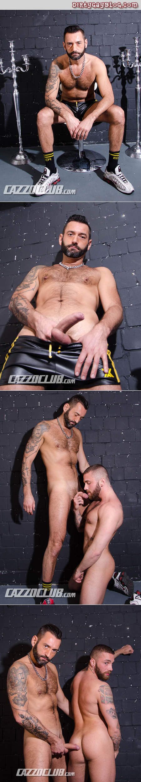 Bearded men in leather shorts having sex in an alley.