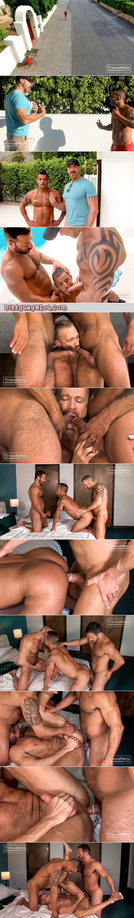 Muscle Daddy couple adds a third man to their gay sex exploits.