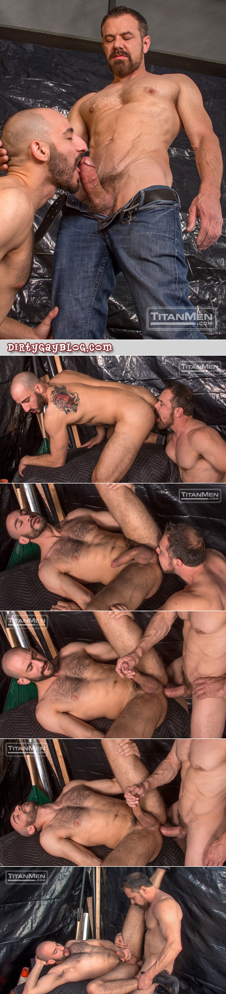 Bearded muscle Daddy fucks an extremely well-hung bottom with his big dick.