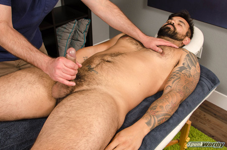 Straight muscle bear getting his dick groped during a massage.