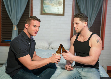 Straight guy drinking beer with his gay buddy so they can have sex together.