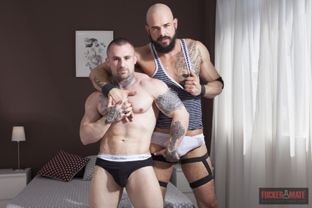 Tattooed muscle studs with huge cocks hard in their briefs.