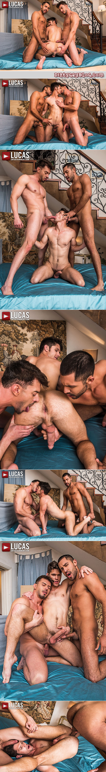 Two guys spit roast a third guy bareback with their big uncut cock.