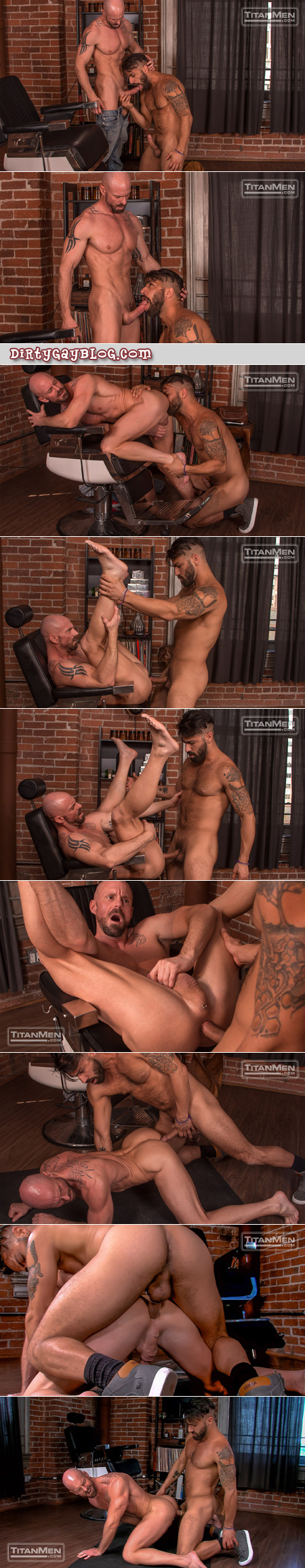 Muscular barber being fucked by his male client.