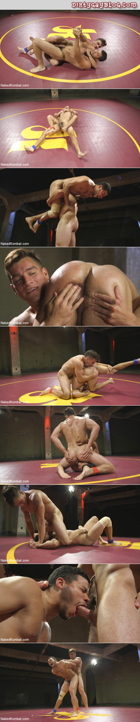 Hunky young muscle men wrestling to see who gets to be on top when they fuck.