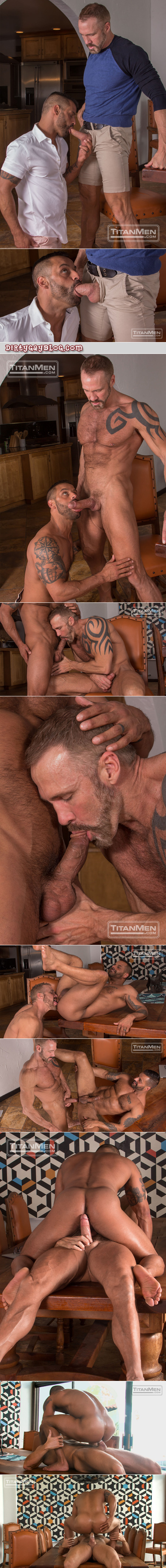 Tattooed muscle Daddies sucking their cocks and getting ready for gay anal sex.