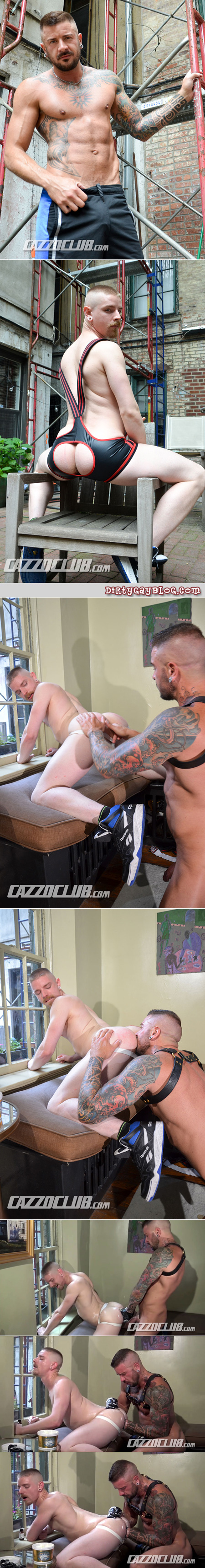 Tattooed leatherman fisting a smooth blonde sex pig.
