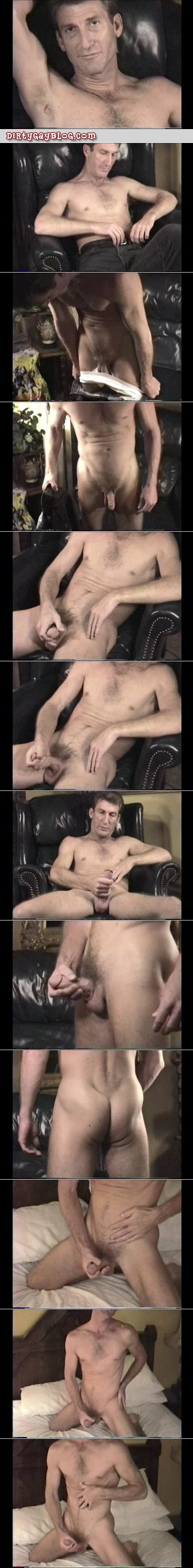 Fit, straight older male masturbating.