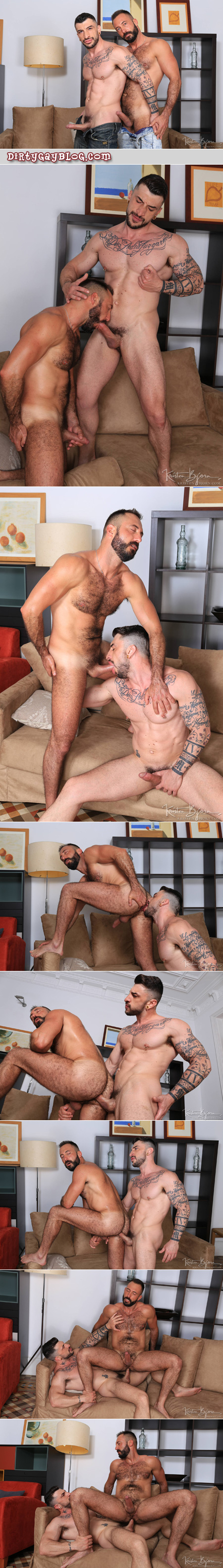 Hairy Daddy being fucked bareback by a tattooed muscle hunk.
