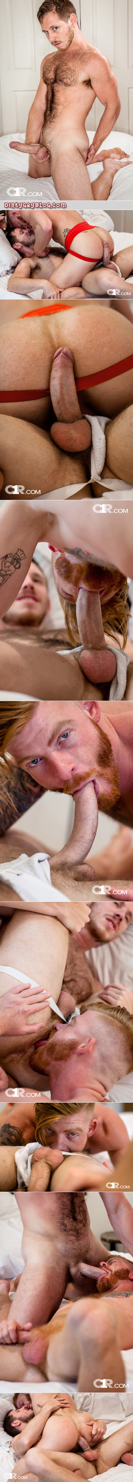 Ginger muscle hunk having gay sex with a hairy stud with a huge cock in jockstraps.