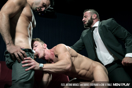 Nude gay muscle stud fucked in the mouth and ass at the same time by two men in suits.