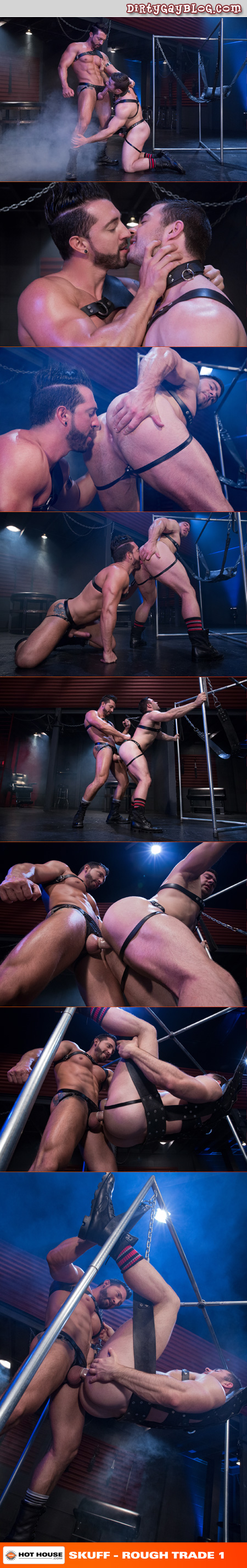 Gay leather bondage leads to a leatherman training his muscle pup with his enormous cock.