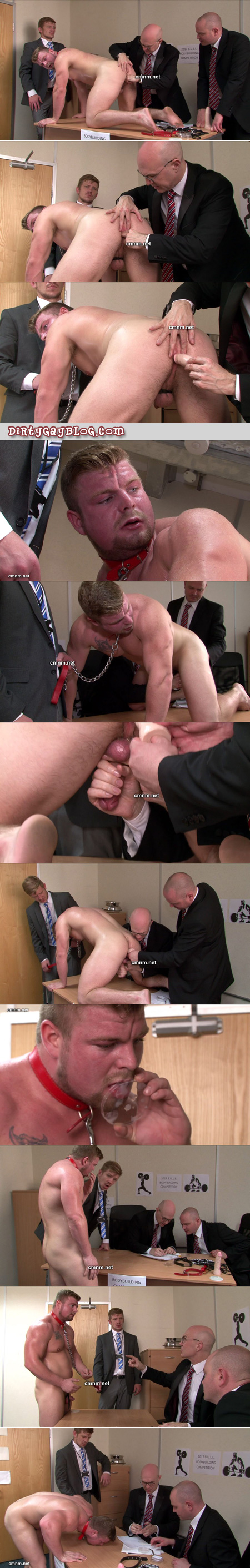 Male bodybuilder groped by men in suits, milked and forced to eat his cum.