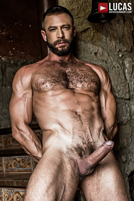 Hairy, muscular Daddy nude and sporting an erection.